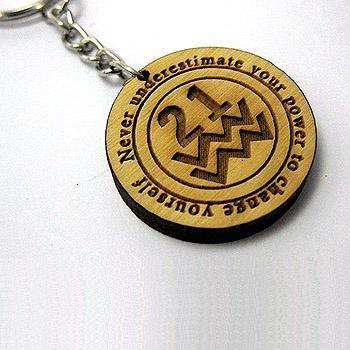 圓形木雕鑰匙圈